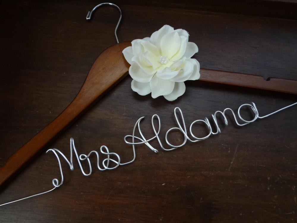 Personalized wedding dress hanger with ivory fabric flower for Personalized wire wedding dress hanger