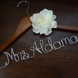 Personalized Wedding Dress Hanger with Ivory Fabric Flower
